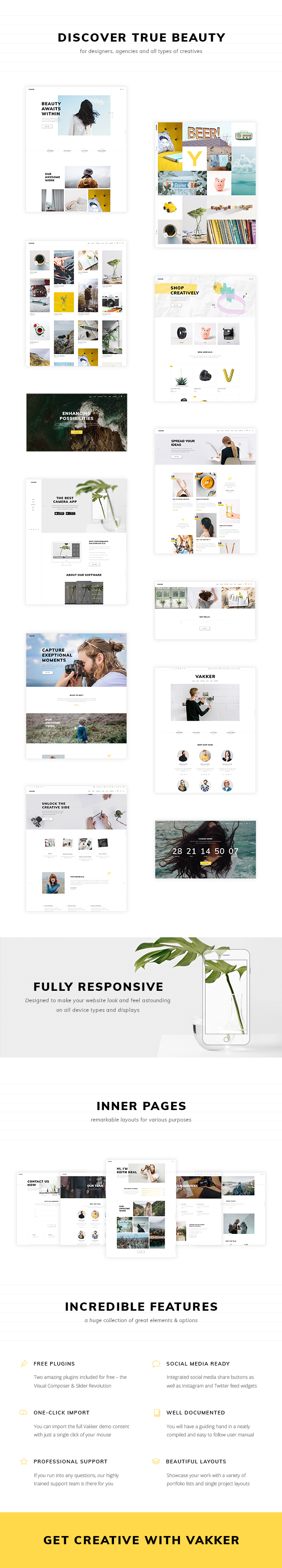 WordPress theme Vakker - A Creative Theme for Designers and Agencies (Creative)